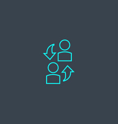 Assistance concept blue line icon simple thin vector