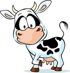 Black and white young cow vector