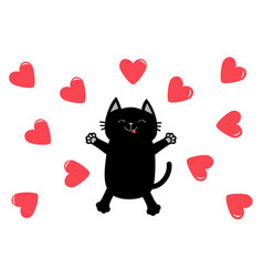 black cat jumping or making snow angel heart icon vector image