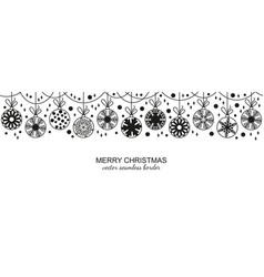 black seamless snowflake border white background vector image