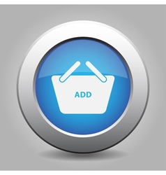 Blue button shopping basket add vector