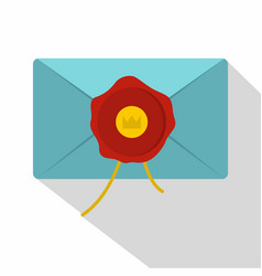 blue envelope with red wax seal icon flat style vector image