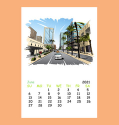 Calendar sheet phoenix june month 2021 year vector