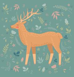 cartoon deer on background nature vector image