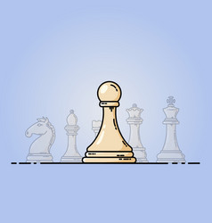 chess flat icon pawn in front vector image