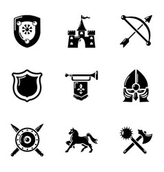 Chivalric icons set simple style vector