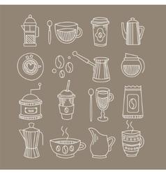 Coffee Related Sketch Drawings Set vector