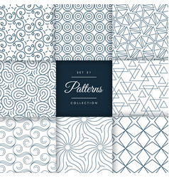 Collection of line pattern background design vector