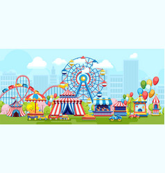 Colorful amusement park with merry-go-rounds vector