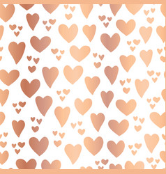 copper foil hearts white seamless pattern vector image