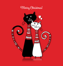 couple of cats in cozy sweaters christmas card vector image