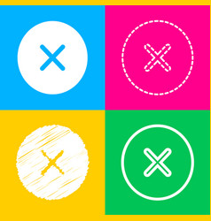 cross sign four styles of icon on vector image