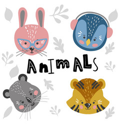cute cartoon little animals childish print vector image