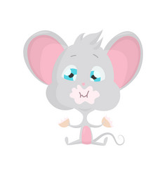 cute grey mouse eats stock vector image