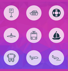 delivery icons set with parking sign bus vessel vector image