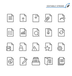 document line icons editable stroke vector image