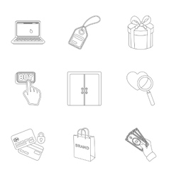 E-commerce set icons in outline style Big vector