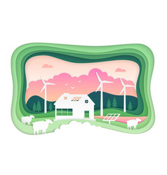 Eco farming - modern paper cut vector