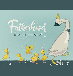 family cute farm birds vector image