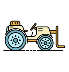 Farm lift tractor icon color outline vector