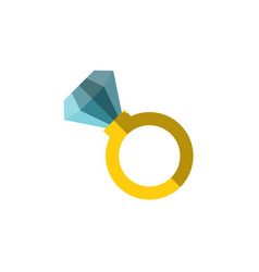 flat icon a ring with huge diamond on it vector image