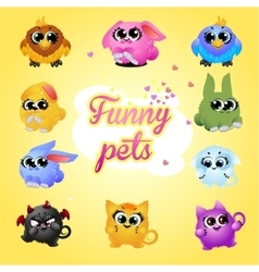 Funny pets icon set on a yellow background vector image