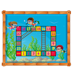 game template with kids under the sea vector image