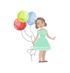Girl In Turquoise Dress Holding Four Balloons vector image