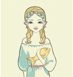 Girl with a fish astrological sign pisces vector