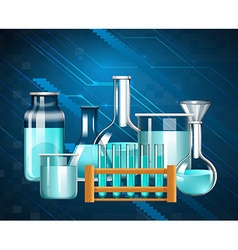 Glass beakers and testtubes with blue liquid vector image