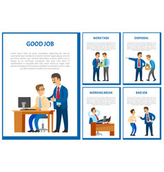 good job of worker boss praising employee poster vector image