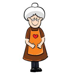 Grandma smiling on white background vector