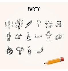 Group of hand-drawn party icons vector image