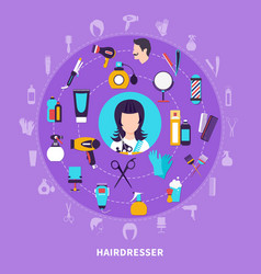 Hairdresser round composition vector