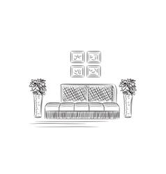 Hand drawn sofas vector image