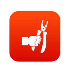 hand holding chisel icon digital red vector image