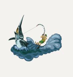 Happy fisherman riding a marlin vector