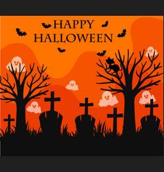 Happy halloween card with graveyard scene vector