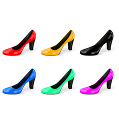 High heel collection of colored women shoes vector