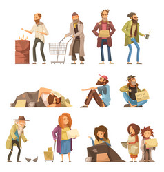 Homeless people set vector