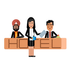 Indian and asian receptionists at hotel reception vector