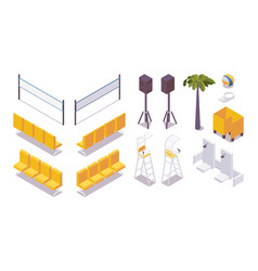 Isometric set beach volleyball equipment water vector