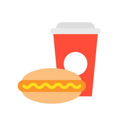 Junk food hot dog and soda food and gastronomy vector