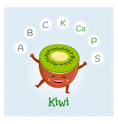 Kiwi fruit vitamins and minerals funny fruit vector