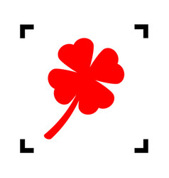 Leaf clover sign red icon inside black vector