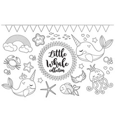 little whale unicorn set coloring book page vector image