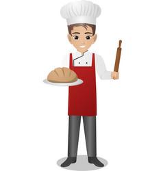 Male baker holding loaf vector