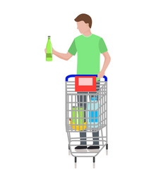 man with cart at supermarket vector image