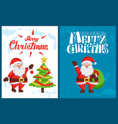 merry christmas inscription santa decorating tree vector image