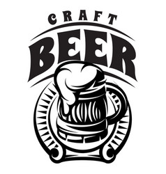 Monochrome badge with inscription with beer vector